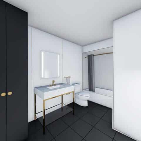 rendering of bathroom at 101 dupont place wilmington de