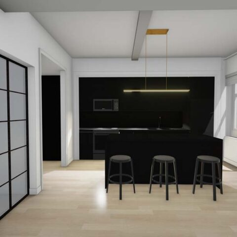 rendering of black kitchen with island at 101 dupont place wilmington de