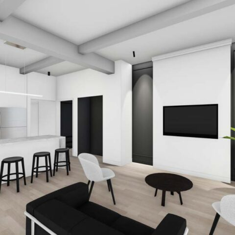 rendering of white kitchen and living room at 101 dupont place wilmington de
