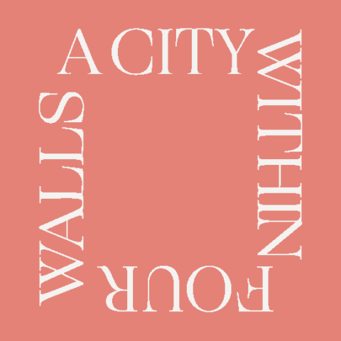 A City Within Four Walls pink card with white text