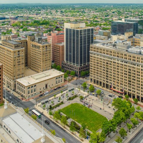Aerial view of Rodney Square in Wilmington DE