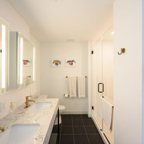 101 dupont place bathroom with glass shower and double vanity in 2 bedroom apartment wilmington delaware
