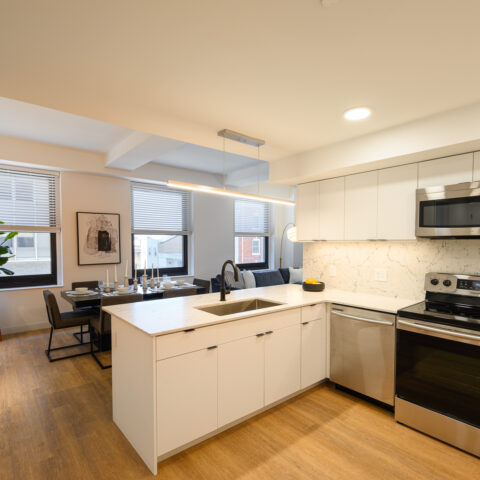 101 dupont place white kitchen and dining room in 2 bedroom apartment wilmington delaware